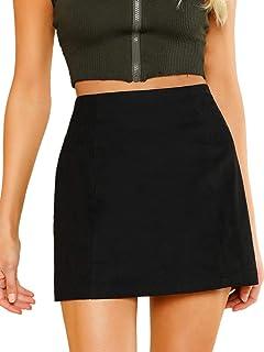 96a2ba8802 SheIn Women's Casual High Waist Zipper Back A-line Mini Short Skirt