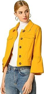 Allegra K Women's Ruffle 3/4 Sleeve Button Up Cropped Trucker Jacket