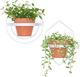 Mkono 2 Pcs Wall Planter - A Diamond & A Circle Shape, Metal Flower Pot Ring Modern Hanging Plant Pot Holder Geometric Bracket Wall Decoration, Fits 6 Inch Pot, White (Planter NOT Included)