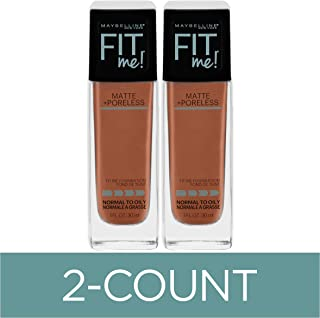 Maybelline Fit Me Matte + Poreless Liquid Foundation Makeup, Coconut, 2 COUNT Oil-Free Foundation