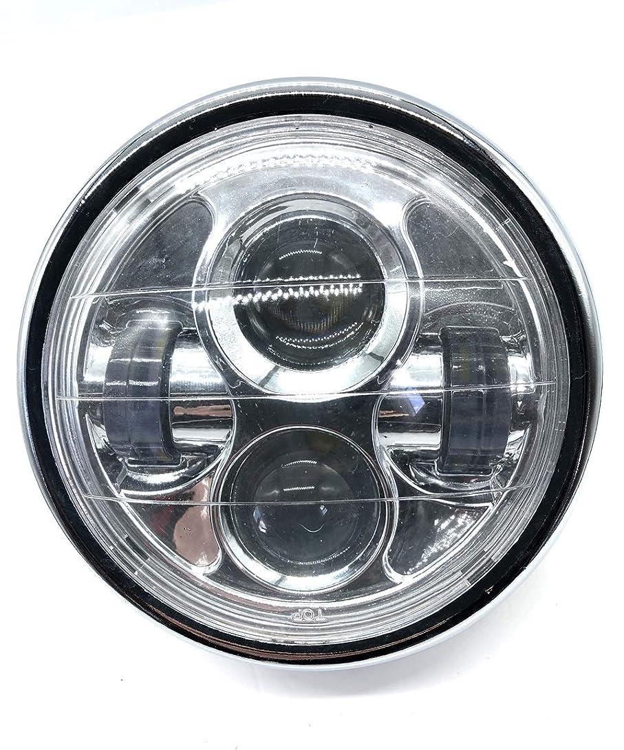 地理消毒する予想外LED プロジェクター ヘッドライト 6 1/2インチ ブラック シルバー メッキ 汎用 ハーレー カフェレーサー ファイター CB400 XJR400 SR ZRX ゼファー 等