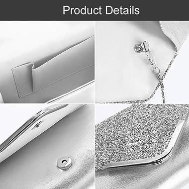 AVA Damen Clutch Glitzer Silber Elegant Abendtasche Glänzend Handtasche Tasche Umhängetasche Klein