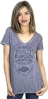 HARLEY-DAVIDSON Womens Panel Flame Double Dye V-Neck PShort Sleeve T-Shirt