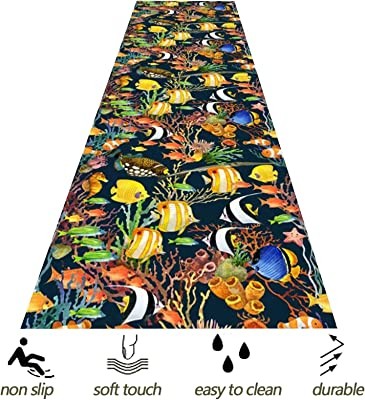 HAIPENG 3D Colorful Fish Runner Rug for Hallway, Narrow Entrance Mat with Anti Slip Backing, Extra Long Hall Carpet for Corridor Bedroom Kitchen Passage (Color : Multi-Colored, Size : 90x350cm)