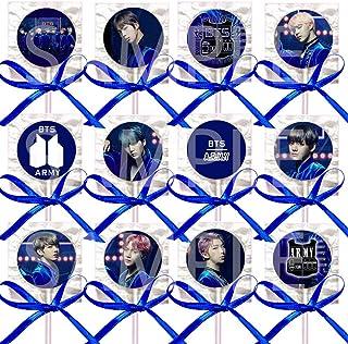 Blue Kpop K Pop Boy Band Lollipops Party Favors Supplies Decorations w / K-Pop Suckers Royal Blue Ribbon Bows Party Favors Party (12 عدد) پسر کره ای کره جنوبی Jin Suga J-Hope RM Jimin V Jungkook