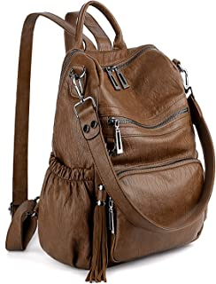UTO Women 3 Ways Backpack Ladies PU Washed Leather Daypack Rucksack Shoulder Bag Multi Compartment Sturdy Zipper Back Anti Theft Pocket Tassels Decoration Brown