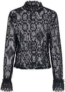 ZIYYOOHY Damen Spitze Weiß Elegant Bluse Sommer Langarm Stehkragen Transparent Top Shirts Tunika Hemd Mit Trompetenärmel