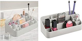 InterDesign Clarity organizador maquillaje con asas | Caja almacenaje con 14 compartimentos para maquillaje y accesorios |...