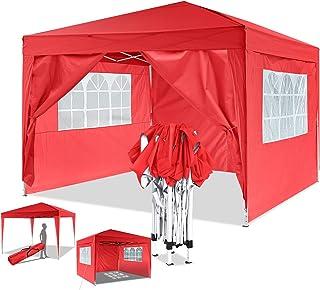 Eloklem Carpa con Paredes | Plegable, Impermeable, con Protección Solar, Ideal para Fiestas en el Jardín | Gazebo, Cenador, Pabellón, Tienda Fiestas (3x3 m, Rojo)