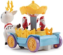 Vokodo Musical Walking Reindeer with Beautiful Rotating Santa Claus Carousel Kids Toy Music Box Self Riding Deer Ligh...