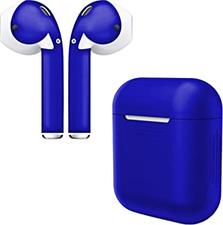 APSkins Silicone Case and Stylish Skins Compatible with Apple AirPod Accessories (Blue Case & Admiral Blue Skin)