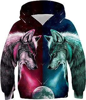 chicolife Ragazzo Ragazza Felpe con Cappuccio 3D Digitale Stampa Hoodie Maniche Lunghe Pullover Vello Sweatshirt per Bambi...
