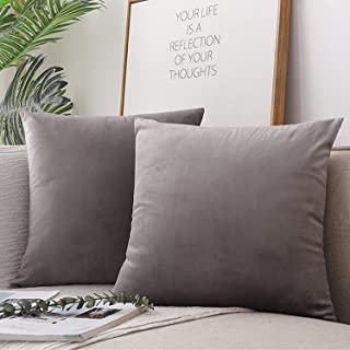 H.J WeDoo Set of 2,Decorative Square Throw Pillow Covers Super Luxury Soft Pillow Cases for Modern Simple Farmhouse Style Decor 16 x 16 Inch/ 40 x 40 cm (Silver Grey)