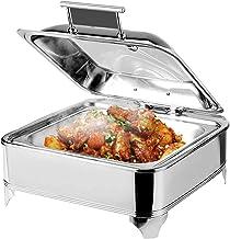 Chauffe-plat électrique carré avec couvercles visibles, idéal pour les fêtes, buffets, 6 L - Température réglable (30-80°)...