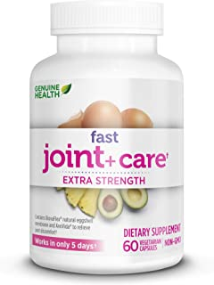 Genuine Health Fast Joint Care+ Clinical Strength, Nourish & Repair Joints, Relieve Pain with BiovaFlex, Vegetarian, 60 Capsules