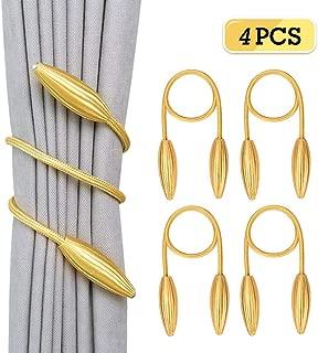 Rosoz Curtain Tiebacks Clips,Creative Window Drape Twist Tie European Style Custom Made Curtain Holders Decorative Draperies Holdbacks(Gold, 4 Pack)