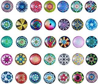 Pandahall About 50pcs/Box Random Mixed Mosaic Printed Flat Back Glass Half Round/Dome Cabochons 25mm for DIY Jewelry Making
