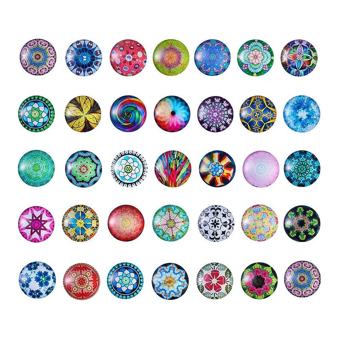 Pandahall 50pcs/Box Mosaic Printed Flat Back Glass Half Round/Dome Cabochons 25mm for DIY Jewelry Making