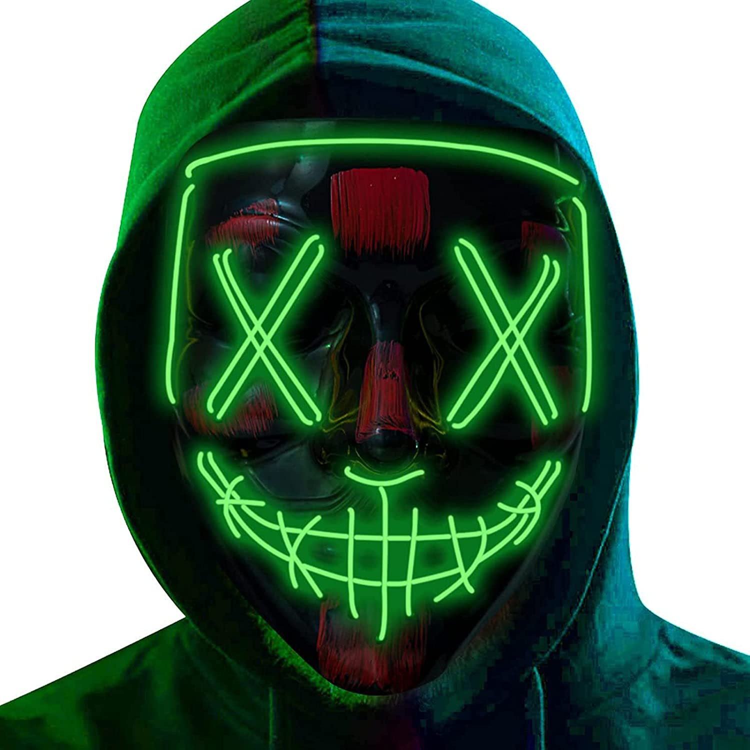 Low price Clearance SALE! Limited time! Halloween Mask Cosplay Purge Light M Up Adjustable LED