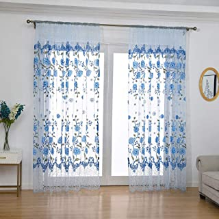 Embroidered Sheer Curtains for Living Room 63 inch Long Geometric Leaf Embroidery Voile Window Curtains Rod Pocket Bedroom Window Treatment 40x80 inch 1 Panel