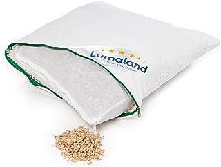 Lumaland Dinkelkissen Kissen gesteppt mit Baumwoll-Bezug Reißverschluss und Dinkelspelz-Füllung in Weiß 40 x 40 cm