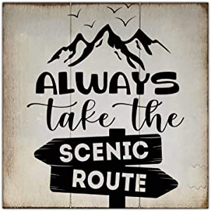 ArogGeld Always Take The Scenic Route Wood Sign,Wooden Wall Hanging Art,Inspirational Farmhouse Wall Plaque,Rustic Home Decor for Living Room,Nursery,Bedroom,Porch,Gallery Wall,Housewarming Gift