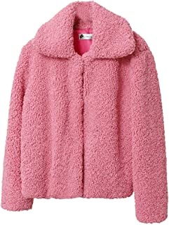 iHHAPY Womens Coat Short Jacket Short Coat Lapel Cardigan Long Sleeve Outwear Solid Winter Coat Casual Faux Fur Overcoat