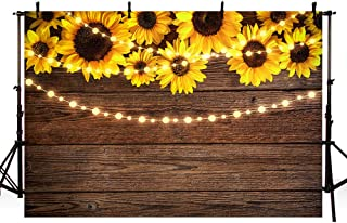 MEHOFOTO 7x5ft Sunflower Wood Backdrops for Photography Rustic Housewarming Baby Shower Birthday Summer Wedding String Lights Party Background Banner for Picture Photo Studio Decoration