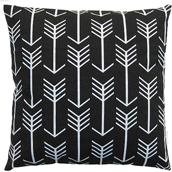 QINU KEONU Feather Arrow Black Color Retro Vintage Cotton Linen Throw Pillow Case Cushion Cover Home Sofa Couch Decorative 18 X 18 Inch