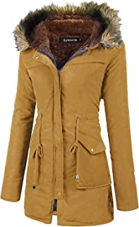 Womens Fur Coats Hooded Faux Fur Lined Warm Winter Thicken Fleece Lined Parkas Long Parka Jackets