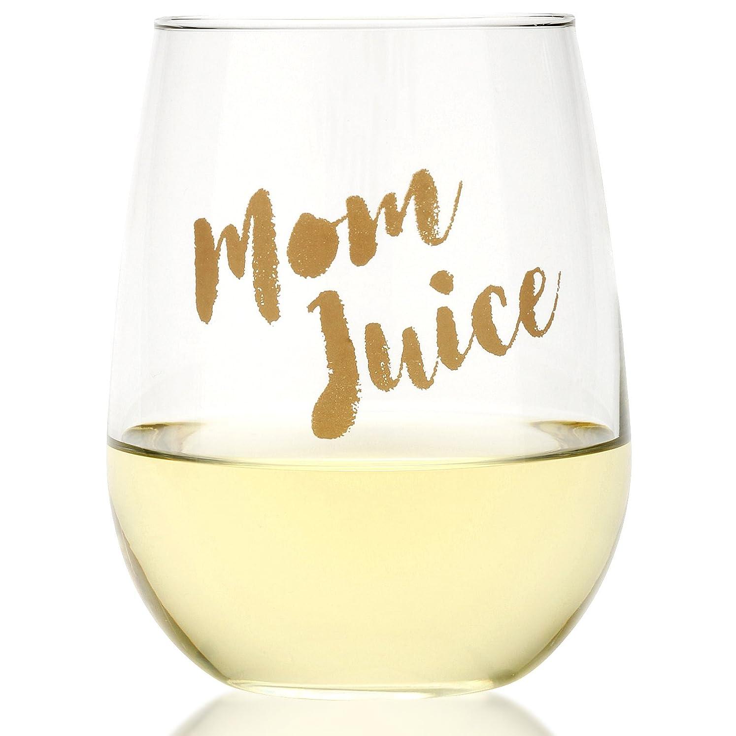 反毒書き込みフィットFunny Momジュースワインガラス、17oz
