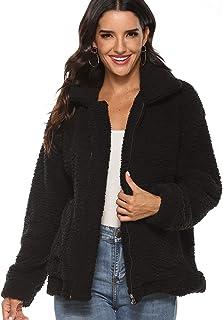 SABARRY Women Coat Casual Lapel Fleece Fuzzy Faux Shearling Zipper Outwear Jackets