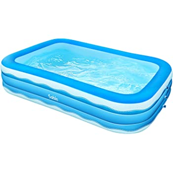 Sable Inflatable Pool, 118 x 72.5 x 20in Rectangular Swimming Pool for Toddlers, Kids, Family, Above Ground, Backyard, Outdoor, Blue (SA-HF071)