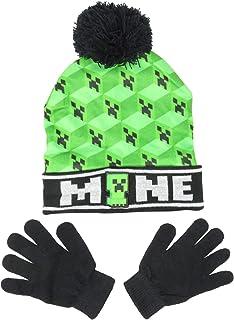 Minecraft Woven Mine Kids Beanie Hat Cap and Gloves Set New Green