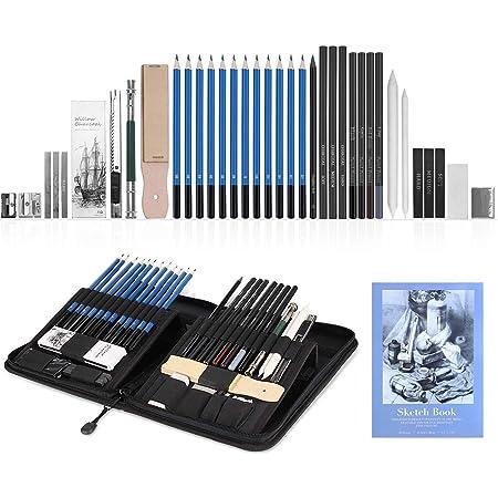 Ajcoflt H/&B 32Pcs Kit professionale per disegno a matita Schizzo Grafite Carboncino Matita Stick Gomme Forniture per schizzi