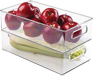 "iDesign Plastic Refrigerator and Freezer Storage Bin BPA-Free Organizer for Kitchen, Garage, Basement, 14.5"" x 8"" x 4"", Se..."