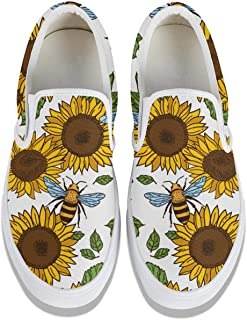 SEERTED Sunflower Floral Repeat School Sneakers for Women