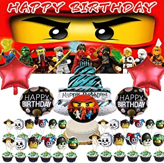 Ninja Party Supplies Favors Decorations Balloons for Boys Banner Backdrop Birthday Set Cake Topper Decor
