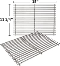 SHINESTAR 7522 Solid 7mm Stainless Steel Cooking Grates Replacement for Weber Old Spirit 200 Grill Grates with Side Control Panel, 15 x 11 Grates for Spirit 210 e210 Grates Parts (SS-KW010B)