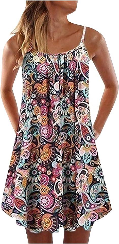 Sommerkleid Blumen Damen Kurz A Linie Sommer Elegant Kleid Frauen Träger Minikleid Leichte Sommerkleider