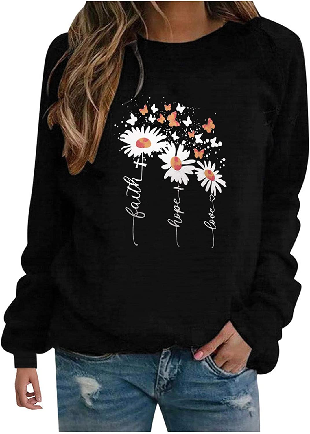 Eoailr Pullover New Shipping Free Shipping Tops New life for Women Long Floral Women's Casual Sleev