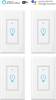 Smart Switch, WiFi Light Switch In-wall Wireless Compatible With Amazon Alexa and Google Home, Timing Function, Suit for 1/2/3/4 Gang Switch Box, Neutral wire require Micmi (4pack)