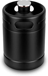 64OZ Mini Keg Growler, Stainless Steel Home Keg with No Scratch Matte Black Powder Coated to Keeping Fresh for Homebrew, Craft and Draft Beer