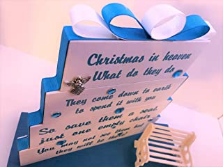 Christmas in Heaven, save them a seat, one empty chair, Christmas Teal with matching ribbon and accents.