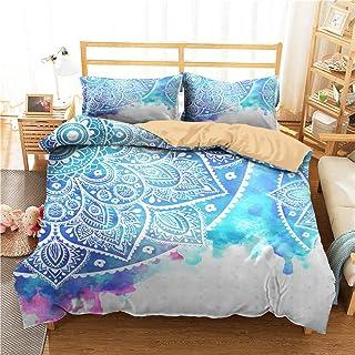 HNHDDZ Boho Ropa de Cama Mandala étnico Exótico Rojo Azul Púrpura Blanco Funda nórdica Indio Bohemia Mandala, Individual, Doble, King, Super King (Estilo 4, 220x240 cm - Cama 150 cm)