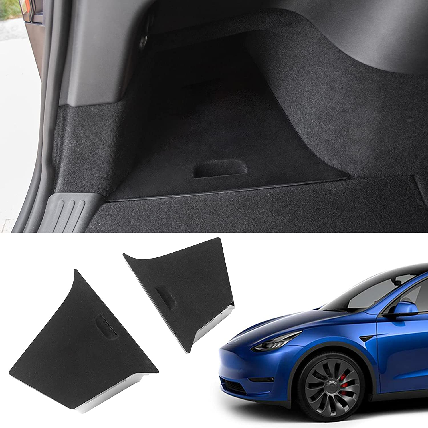 Fit Tesla Model Y Trunk Organizer Rear Trunk Storage Box Side Packets Tray Bins For Tesla Model Y Accessories 2020 2021 (Rear Trunk Side Boxes(Lid Without Hole))