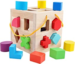 QZM Shape Sorter Toy with 19 Holes My First Wooden Toys Shapes and 12 Color Wood Baby Geometric Puzzle Blocks Matching Sorting for Toddlers - Learning and Educational Toys for Kids