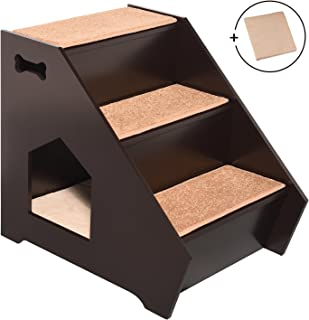 Arf Pets Cat Step House – Wooden Pet Stairs w/ 3 Nonslip Steps, Built-in House for Dogs, Cats & Short Pets to Reach Bed, Couch, Window, Car & More Extra Bonus Cushion Included