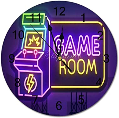 Silent Wooden Wall Clock, Neon Game Room Sign Computer Gamer 16 in Battery Operated Quartz Clock Easy to Read Farmhouse Decor