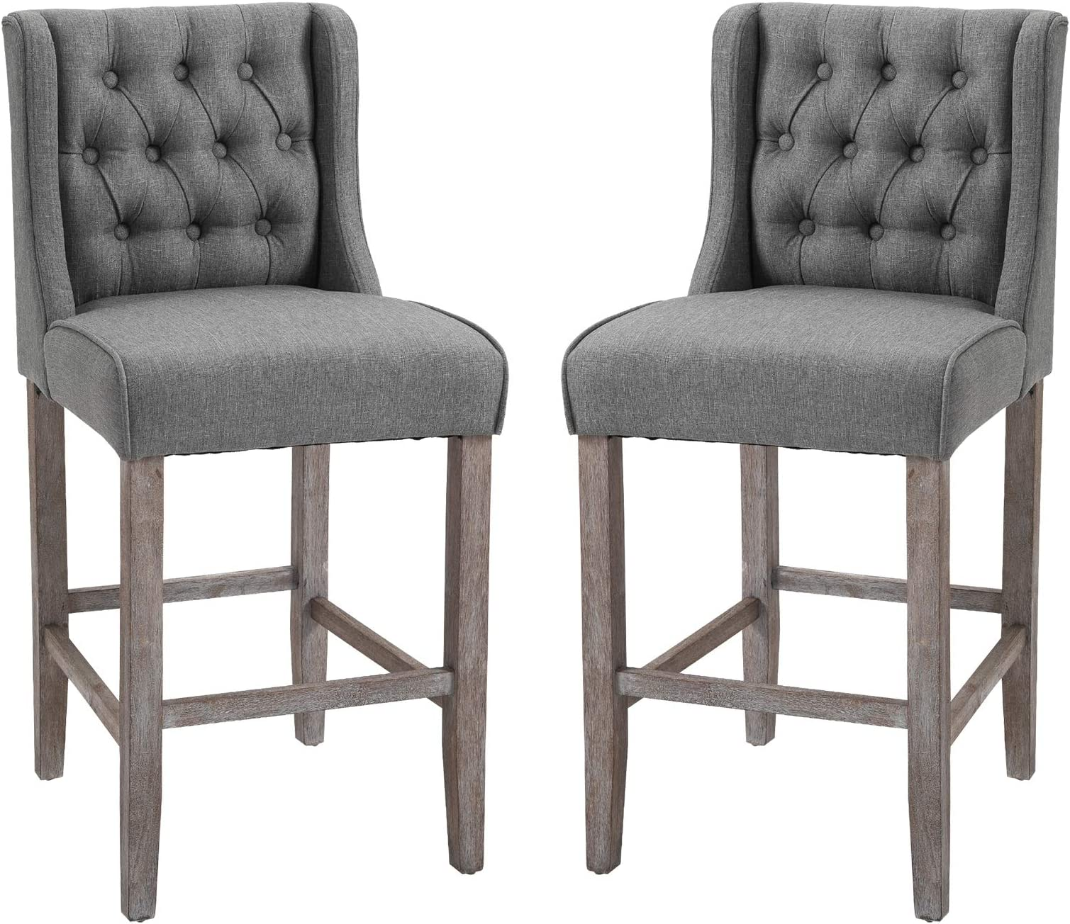 """HOMCOM 40"""" Counter Height Barstools Tufted Wingback Armless Dining Kitchen Upholstered Chair with Rubber Wood Legs, Set of 2, Grey"""
